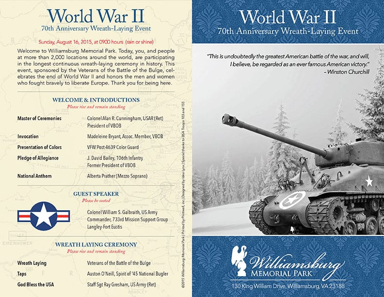 World War II 70th Anniversary Program