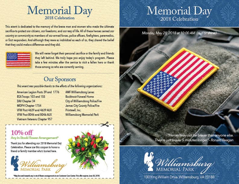 Williamsburg Memorial Park 2018 Memorial Day Program