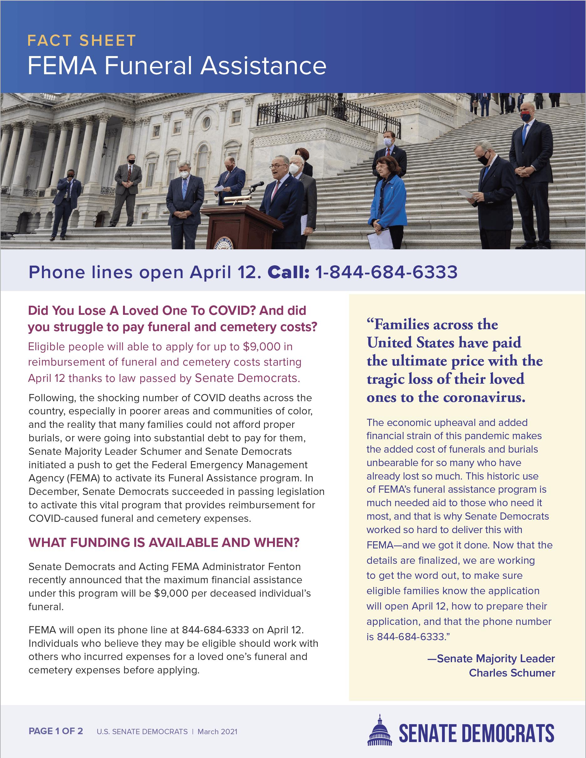 FEMA Funeral Assistance Fact Sheet